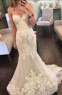 Beautiful Sweetheart Lace 2016 Wedding Dresses Mermaid Tulle Sheer Skirt