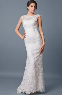 Backless Fit and Flare Lace Long Wedding Dress