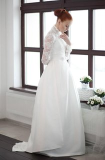 Long Sleeve Lace Weddig Dress With Bolero
