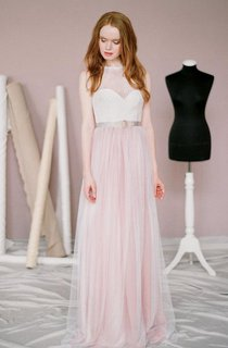 Natural Chiffon Tulle Lace Dress With Illusion Button