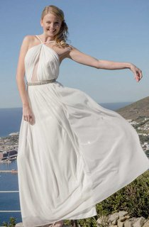 Spaghetti Chiffon Ruched Floor-Length Dress With Jeweled Waist