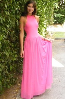 Chiffon Long Gown Pink Long Evening Chiffon Sexy Open Back Cocktail Prom Gown Backless Long Dress