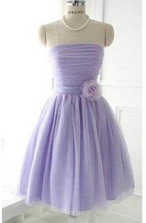 Short Strapless Lace-up Lilac Tulle Dress