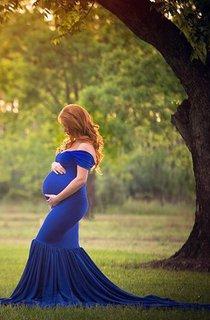 Cap Sleeve Chiffon&Lace&Jersey Maternity Dress