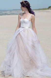 Spaghetti Strapped Sweetheart Lace&Satin Dress With Sash Ribbon&Lace-up Back