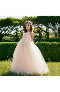 Lace One Shoulder Sleeveless Tulle Tutu Dress With Flowers