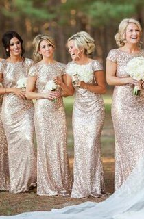 Glamorous Bateau Cap Sleeve Bridesmaid Dress With Sequins