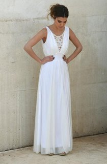 V-Neck Chiffon Dress With Embroideries
