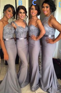 Different Styles Lace Appliques Mermaid Bridesmaid Dress 2016