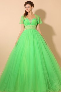 Empire A-Line Princess Ball Gown With Soft Tulle And Crystal Detailing