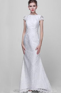 Scalloped Backless Sheath Lace Wedding Dress With Bow And Cap Sleeve