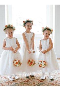 Lovely Jewel White Princess Flower Girl Dress 2016 Bowknot Sleeveless