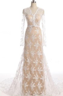 Mermaid Long Sleeve Court Train Lace Dress With Illusion