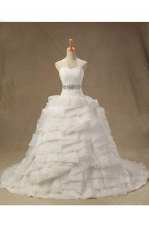 Sweetheart Empire Lace-Up Back Organza Wedding Dress With Tiers And Sash