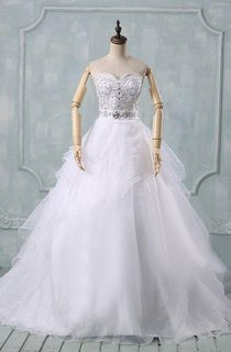 Sweetheart A-Line Long Organza Wedding Dress With Sequins And Ruffles