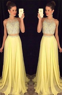 Gorgeous Beadings Sleeveless Prom Dress 2016 Long Chiffon Party Gowns