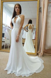 High Neck Sleeveless Chiffon Ruched Wedding Dress With Sweep Train And Corset Back