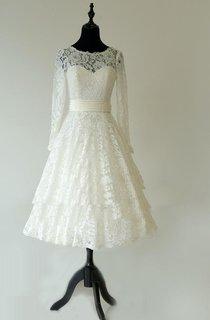 Tea-Length Bateau Neck Long Sleeve Lace Dress With Sash