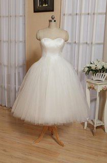 Sweetheart Empire Tea-Length Tulle Wedding Dress With Lace-Up Back