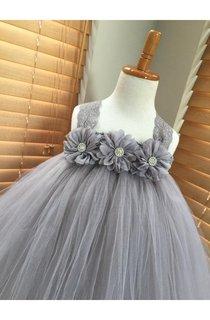 Gray Chiffon Ballerina Rhinestone Flower Lace Strap Tulle Tutu Dress