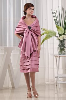 Strapless Knee-Length Satin Dress With Tiers