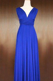 Maxi Cobalt Blue Bridesmaid Convertible Twist Wrap Dress