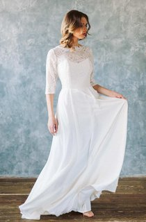 Bateau Chiffon Floor-Length Dress With Lace Top And Low-V Back