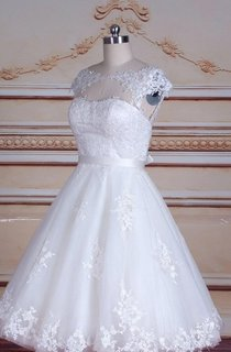 Short Tea-Length Cap Sleeve Tulle Lace Satin Dress With Keyhole Back