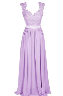 Cap-sleeve Sweetheart A-line Gown With Beaded Lace Appliques