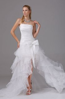 Strapless High-Low Organza Dress With Bow and Ruching