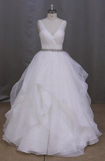 Graceful and Romantic Ruffled Ball Gown With Ruching and Beading