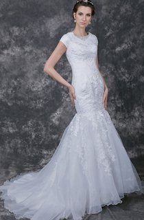 Dramatic Cap-sleeved Mermaid Tulle Gown With Appliqued Lace and Embroidery