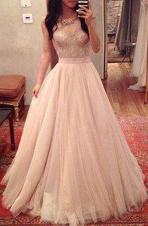A-line Sweetheart Pleats Long Tulle Lace Dress