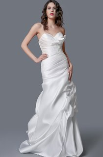 Feminine Satin Ruched Mermaid Dress With Beaded Waist
