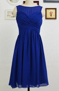 A-line Mini Scoop Chiffon Dress