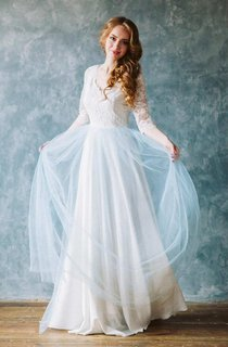 Long Dress Half Sleeve Lace Dress With Tulle Skirt