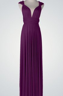 Cap Chiffon Floor-Length Dress With Pleats