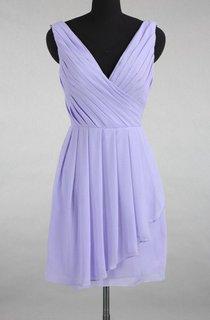 Asymmetrical Strapped V-neck Chiffon&Satin Dress