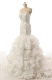 Strapless Sweetheart Mermaid Dress With Beading And Ruffles