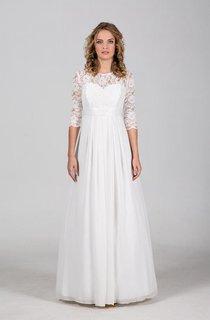 Chiffon Lace Weddig Dress With Illusion Corset Back