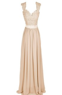 V-neck Long Ruffled Gown With Embroidered Bodice