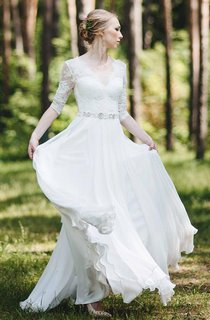 Lace Half Sleeve Chiffon Floor-Length Dress With Deep-V Back