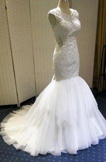 Mermaid Tulle Satin Weddig Dress With Beading