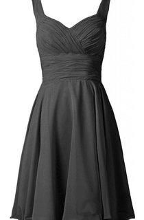 Sleeveless A-line Knee-length Ruched Chiffon Dress