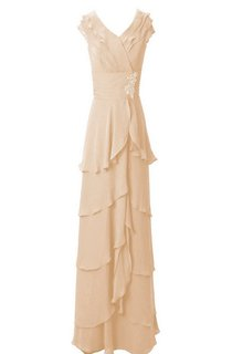 Cap-sleeved Tiered Long Chiffon Dress With Sequins