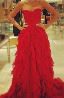 Red Sweetheart Ruffles Evening Party Dress 2016