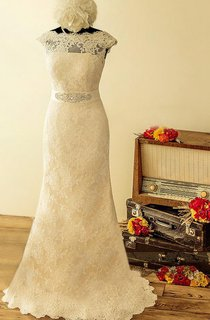 A-Line Cap Sleeve Lace Satin Dress With Beading Sequins Illusion Low-V Back