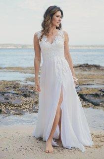 V-Neck Sleeveless Chiffon Split Front Wedding Dress With Deep-V Back