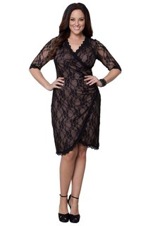 Half Sleeve Lace Short Dress in Wrap Style