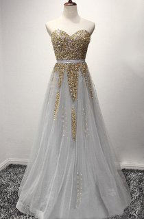 Tulle Long A-line Dress With Sequins